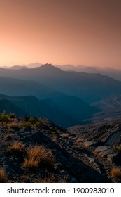 Beautiful sunrise view from Jebel jais, one of the highest mountain in United Arab Emirates, best tourist place in Ras Al Khaimah