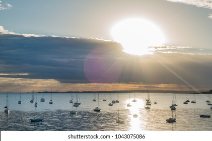 Beautiful sunrise at Waterfront of Geelong, Victoria, Australia. A beautiful beach, good stop on the way to Great Ocean Road.