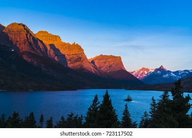 beautiful sunrise at wild goose island,Glacier national park,Montana,usa.