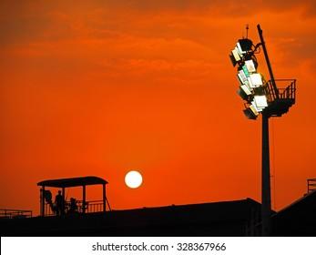 Beautiful Sunset above Baseball Stadium