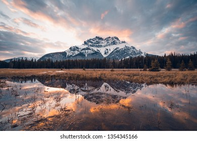 A beautiful sunset above the Canadian Rockies in the Banff National Park, Canada, Travel Alberta, Cascade Mountain, Mt Rundle, Two Jack Lake, reflection, landscape, mother nature, Canada, wallpaper