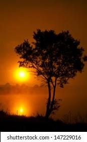 Beautiful sunset above the lake