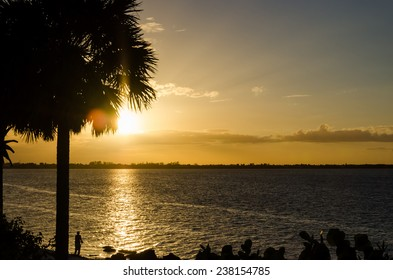 Beautiful sunset above the ocean