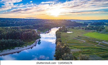 Beautiful sunset above the Snohomish River
