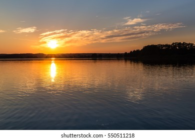 Beautiful Sunset Above Svet Lake - Trebon, Czech Republic, Europe