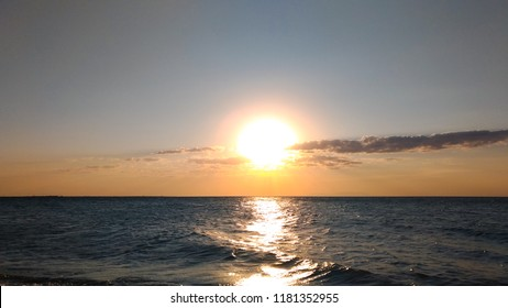 Beautiful Sunset at  Aegean Sea, Samothrace Island, Greece.