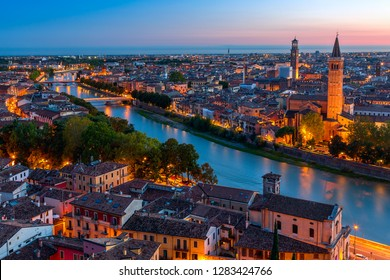 Beautiful sunset aerial view of Verona. Venero region in italy. Verona sunset cityscape.