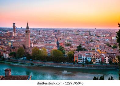 Beautiful sunset aerial view of  Verona, Veneto region, Italy.