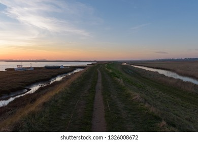 Beautiful sunset in Aldeburgh - looking inland, with the River Alde on the left.