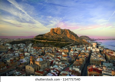 Beautiful Sunset in Alicante. Castillo de Santa Bárbara. view of the old city of europe.