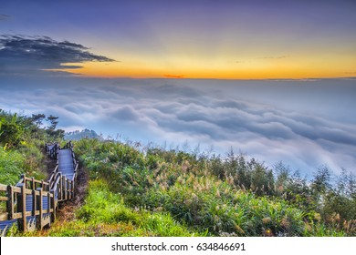 Beautiful sunset of  Alishan(Ali mountain) National Park with dramatic clouds of sea,,Taiwan