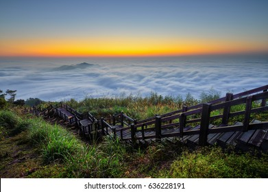 Beautiful sunset of  Alishan(Ali mountain) National Park with dramatic clouds of sea at sunset,Taiwan.