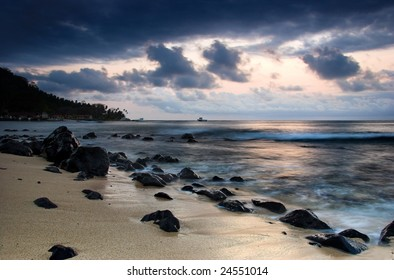 Beautiful sunset of an amazing beach in Sao Tom? - Equator
