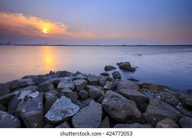 beautiful sunset at Ancol Beach,,Jakarta Indonesia