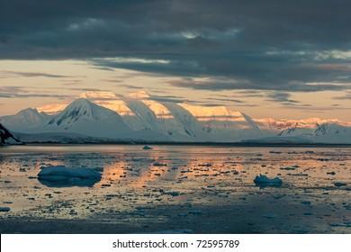 Beautiful sunset in Antarctica