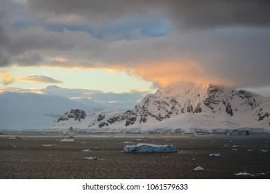 Beautiful sunset at the antartica