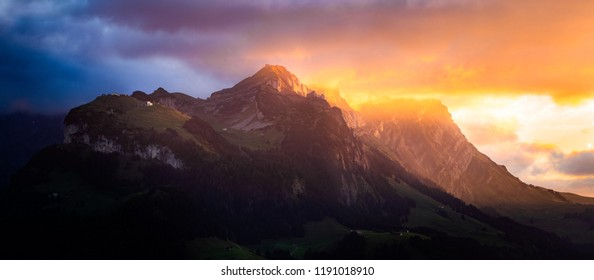 "a beautiful sunset in Appenzell, Switzerland. The First Mountain from Left is ""Ebenalp"" the second is the ""Schäfler"" and the third is the famous ""Säntis"". Shot taken on my Nikon D850"