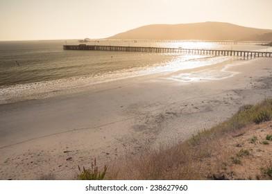 Beautiful sunset at Avila beach in California