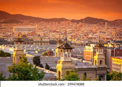 beautiful sunset in Barcelona, Spain