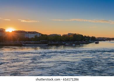 Beautiful sunset in Bayonne, France
