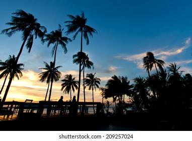 Beautiful sunset at a beach resort
