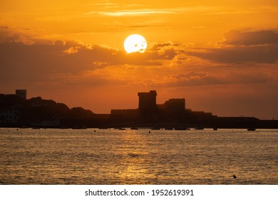 Beautiful sunset at the beach of Saint-Jean-de-Luz at the Atlantic coast, France