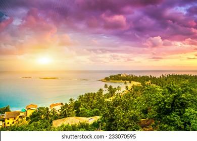 Beautiful sunset. Beach in Unawatuna, Sri-Lanka