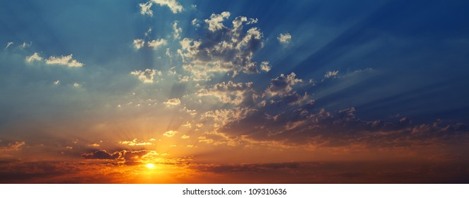 beautiful sunset with blue sky and clouds