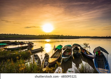 Beautiful sunset And boat in the river