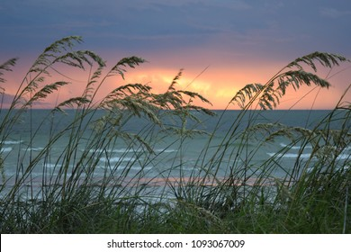 beautiful sunset, with breaking waves and sea oats in foreground, Gulf of Mexico, Florida.
