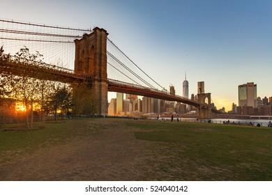 Beautiful sunset at Brooklyn Bridge view from Brooklyn Bridge park, New York City