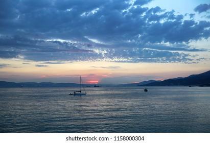 Beautiful sunset by the sea on the coast of Krasnodar territory