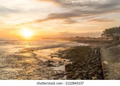 Beautiful sunset at canggu beach in bali indonesia