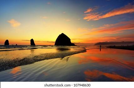 Beautiful sunset in cannon beach