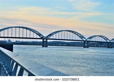 beautiful sunset at Centennial Bridge Davenport, Iowa
