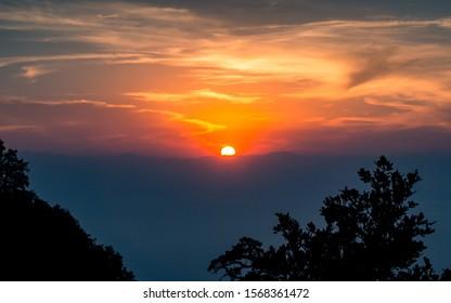 beautiful Sunset from Chandragiri hill, Kathmandu, Nepal.