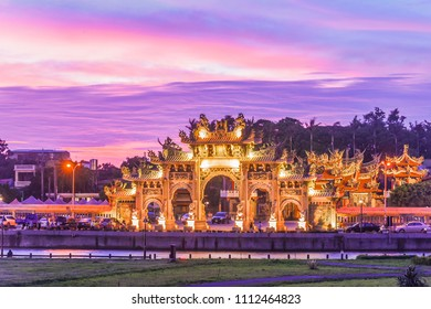 Beautiful Sunset at Chihho Temple, Xinfeng (Hsinfeng) County, Hsinchu, Taiwan