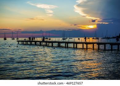 beautiful sunset in the city of Ankaran, adriatic sea, Slovenia