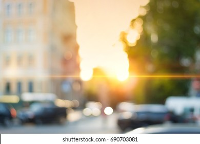 Beautiful sunset city bokeh. Blurred background photo.