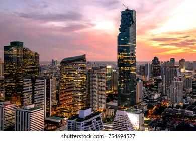 beautiful sunset cityscape Urban of Bangkok city at night  , landscape Thailand