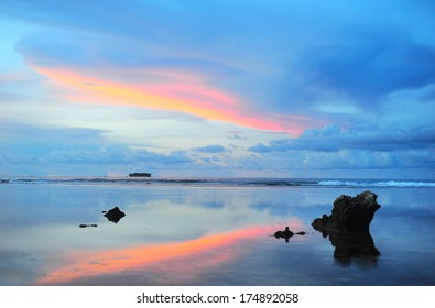 Beautiful sunset at Cloud 9, Siargao island , Philippines.