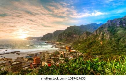 Beautiful sunset at the coast of Taiwan, quaint village at the seaside of Keelung, Taiwan.