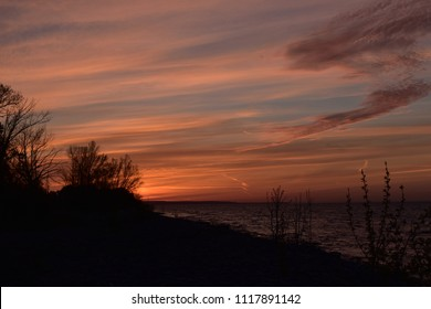 Beautiful sunset at Collingwood, Ontario, Canada - Georgian bay