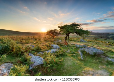 Beautiful sunset at Combestone Tor near Hexworthy on Dartmoor National Park in Devon