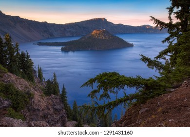 Beautiful Sunset at Crater Lake National Park in Oregon, USA - Wizard Island