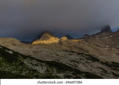 Beautiful sunset at Dachstein mountain, Austrian Alps, Salzkammergut, Austria