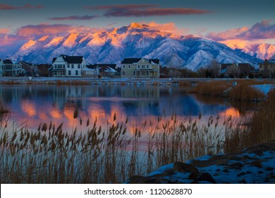 Beautiful sunset in Daybreak, South Jordan, Utah USA during winter in 2018.
