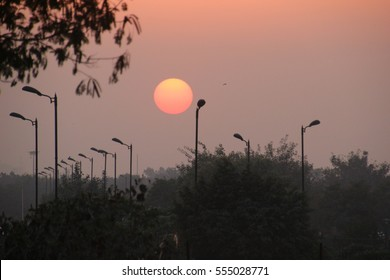 Beautiful sunset in Delhi, India.