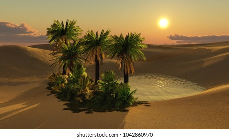 beautiful sunset in the desert above the oasis with palm trees 3d rendering
