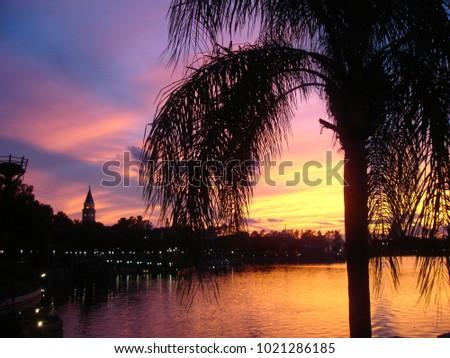 Beautiful sunset at Disney